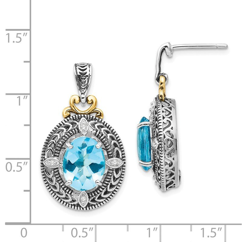Shey Couture Sterling Silver w/14k Diamond & Blue Topaz Earrings
