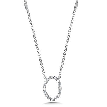 Oval Baguette Diamond Necklace