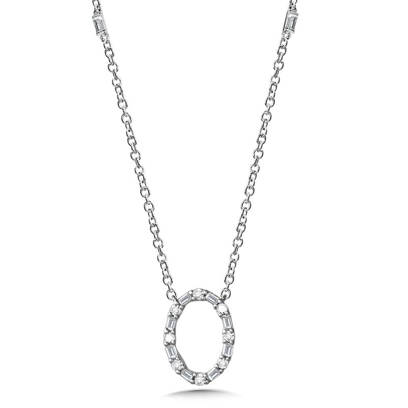SDC Creations Oval Baguette Diamond Necklace