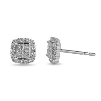 14K WG Diamond Quad Center Stud Earring with Halo