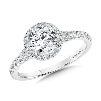 Round Split Shank Halo Engagement Ring