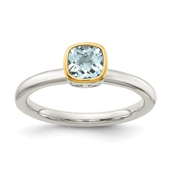 Sterling Silver w/ 14K Accent Aquamarine Ring