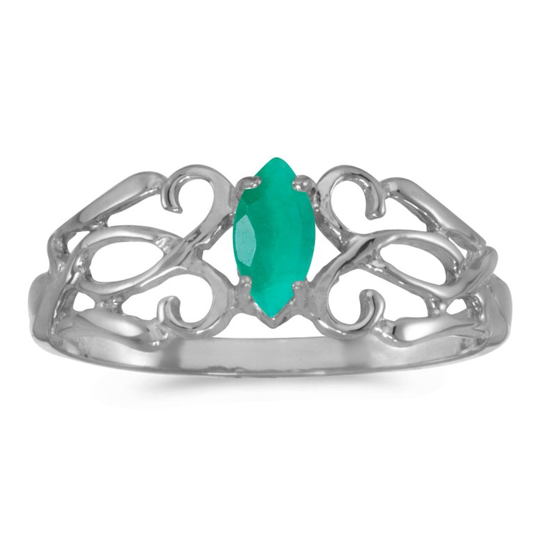Color Merchants 10k White Gold Marquise Emerald Filagree Ring