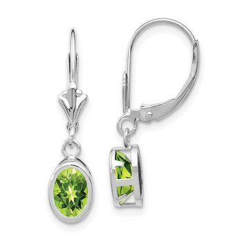 14k White Gold 7x5mm Oval Peridot Leverback Earrings