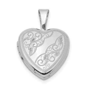 Sterling Silver Rhodium-plated Side Swirls 12mm Heart Locket
