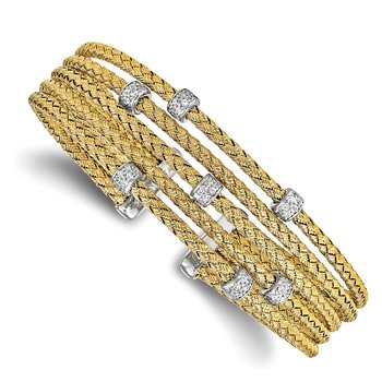 Leslie's Sterling Silver Gold-tone CZ Woven Flexible Cuff