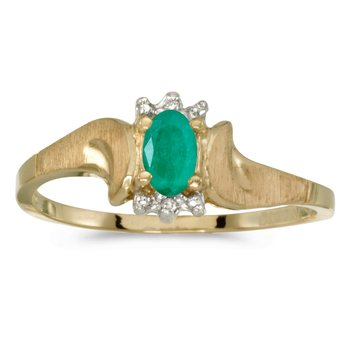 14k Yellow Gold Oval Emerald And Diamond Satin Finish Ring