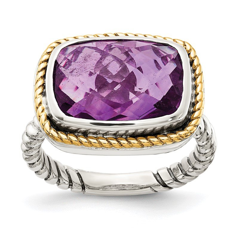 Arizona Diamond Center Collection Sterling Silver w/14k Amethyst Oxidized Rope Ring