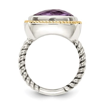 Sterling Silver w/14k Amethyst Oxidized Rope Ring