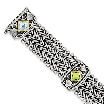 Sterling Silver w/14k Multi Gemstone & Diamond 7.5in Bracelet
