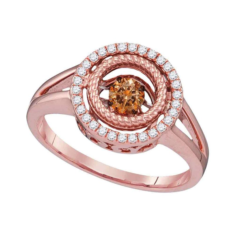 Kingdom Treasures 10kt Rose Gold Womens Round Cognac-brown Color Enhanced Diamond Moving Twinkle Ring 3/8 Cttw