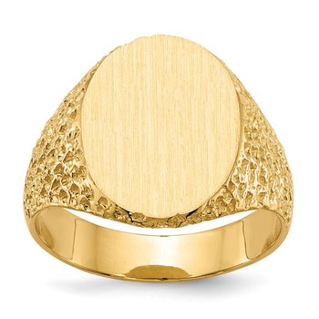 14k 17.0x13.0mm Closed Back Men's Signet Ring