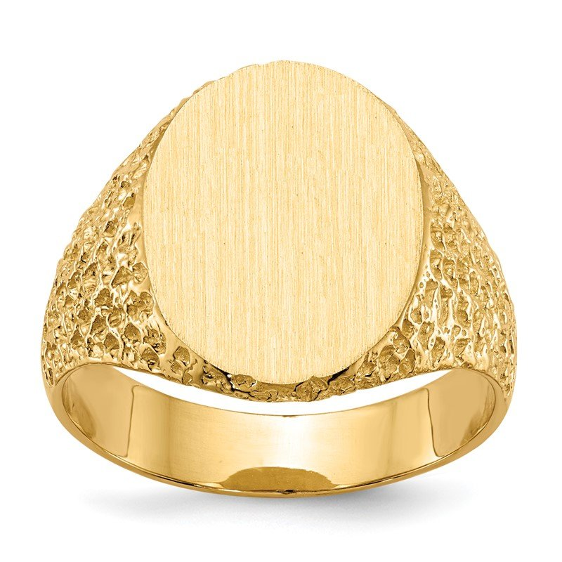 Quality Gold 14k 17.0x13.0mm Closed Back Men's Signet Ring