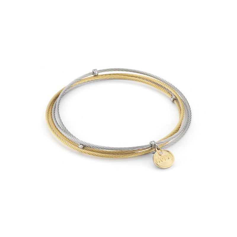 ALOR Grey & Yellow Cable Affirmation Bangle with Diamond Hope Charm