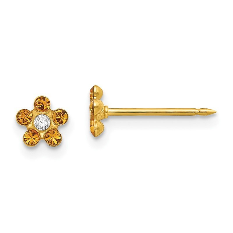 Quality Gold Inverness 14k November Yellow Crystal Birthstone Flower Earrings