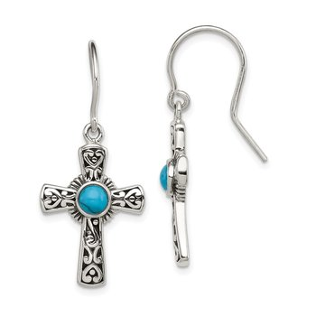 Sterling Silver Antiqued Recon Turquoise Cross Shepherd Hook Earrings