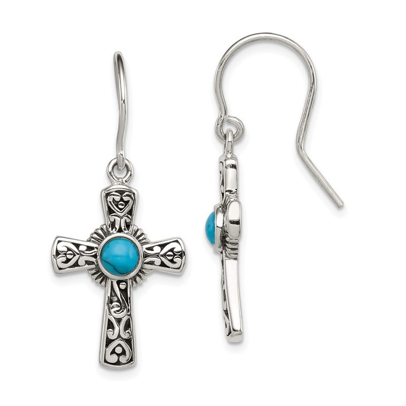 Quality Gold Sterling Silver Antiqued Recon Turquoise Cross Shepherd Hook Earrings