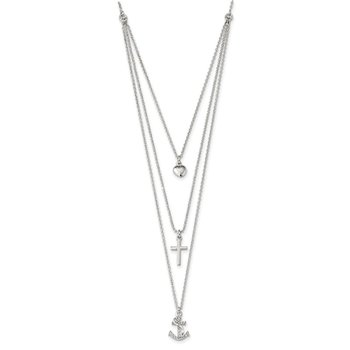Sterling Silver Polished CZ Heart/Cross/Anchor Multi-Strand 16in Necklace
