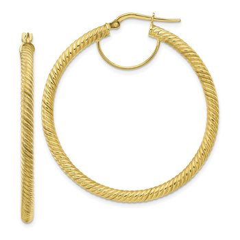 10k 3x35 Twisted Round Hoop Earrings
