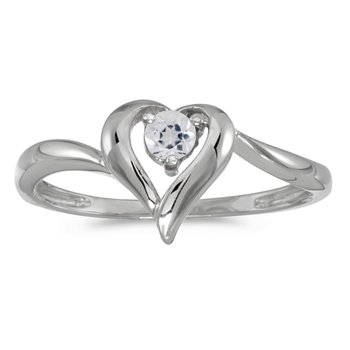10k White Gold Round White Topaz Heart Ring