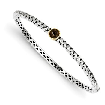 Sterling Silver w/14k Smoky Quartz Bangle Bracelet