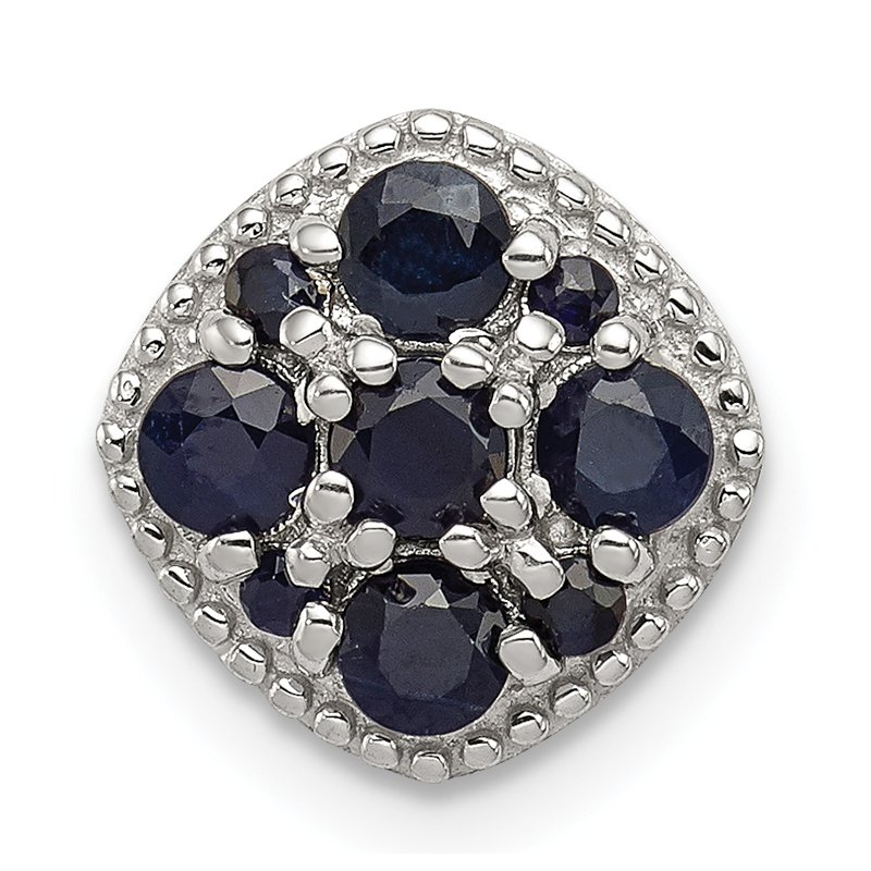 JC Sipe Essentials Sterling Silver Rhodium Plated Sapphire Square Pendant Slide