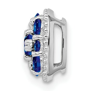 Sterling Silver Rhodium Plated Sapphire Square Pendant Slide
