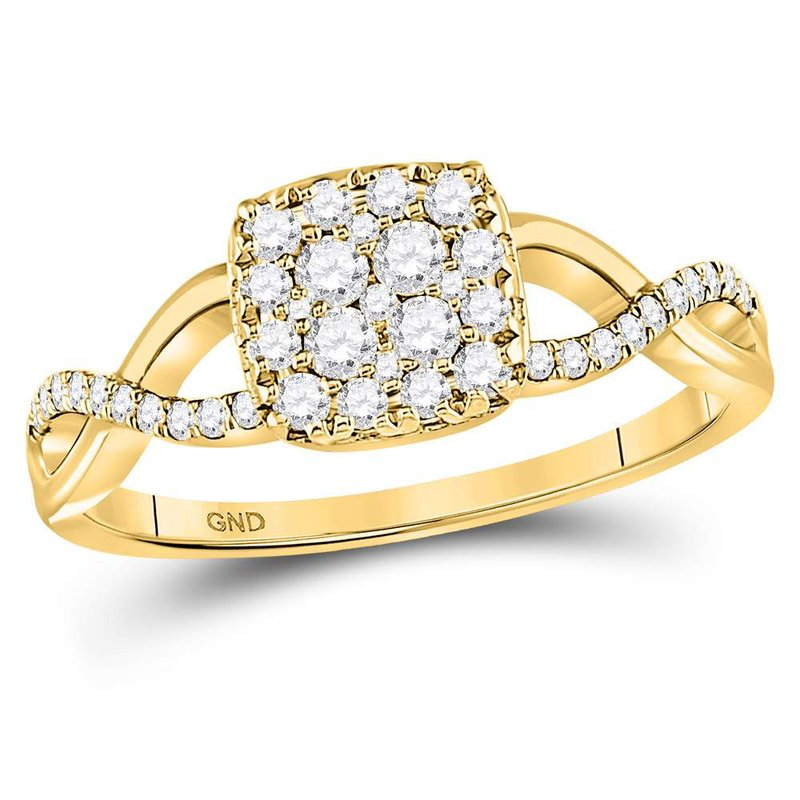 Gold-N-Diamonds, Inc. (Atlanta) 10kt Yellow Gold Womens Round Diamond Square Cluster Twist Ring 1/2 Cttw