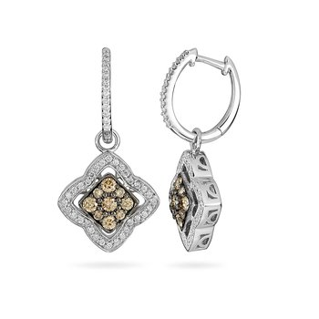 14K WG White and Champagne Diamond Earring
