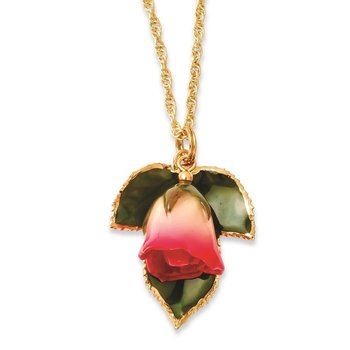 Lacquer Dipped White/Pink Rose w/24K Gold-trim Leaf 20in Gold-tone Necklace