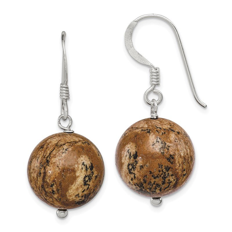 Quality Gold Sterling Silver 14mm Picture Jasper Earrings
