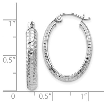 Leslie's 10K White Gold D/C Oval Hinged Hoop Earrings