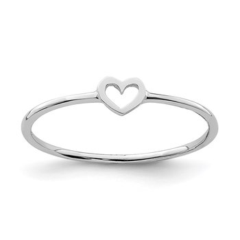 14K White Polished Heart Ring