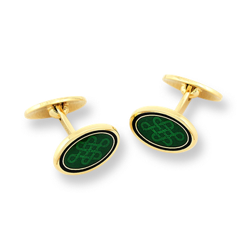 18 Karat Gold Oval-Celtic Cufflinks-Green