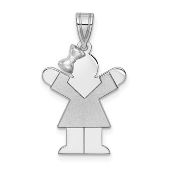 14k White Gold Small Girl w/Bow on Left Engravable Charm