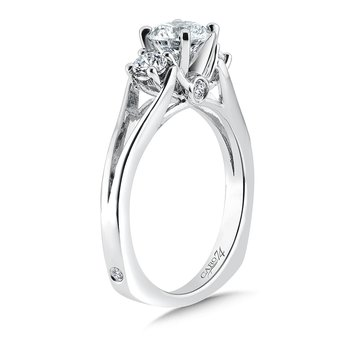 Classic Elegance Diamond Three-Stone Engagement Ring with Split Shank in 14K White Gold with Platinum Head (3/4ct. tw.)