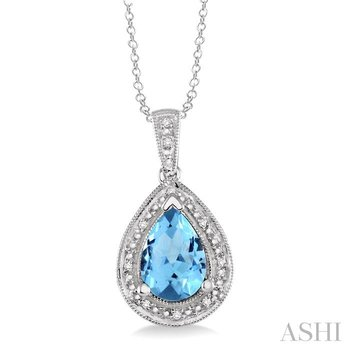 pear shape silver gemstone & diamond pendant
