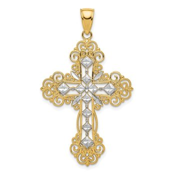 14K w/Rhodium Polished Textured Diamond Pattern Cross Pendant