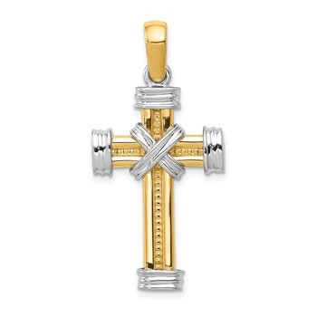14k Two-tone Latin Cross Pendant