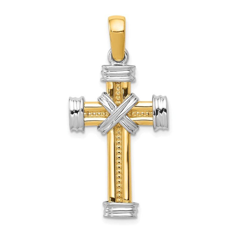 Quality Gold 14k Two-tone Latin Cross Pendant