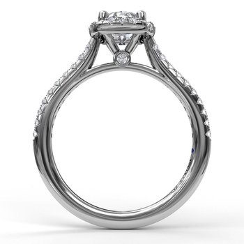 Oval Center Diamond With Cushion Halo Engagement Ring