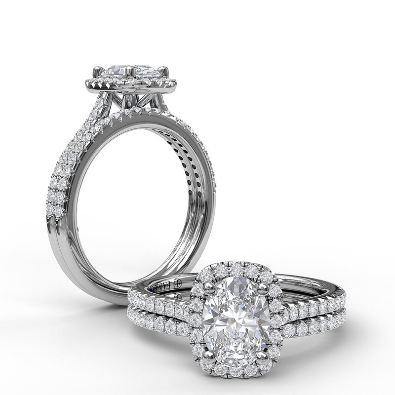 Fana Oval Center Diamond With Cushion Halo Engagement Ring