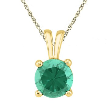 10kt Yellow Gold Womens Round Lab-Created Emerald Solitaire Pendant 1-1/3 Cttw