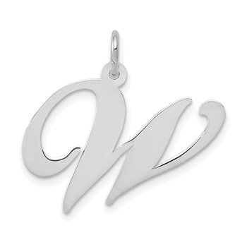 14k White Gold Large Fancy Script Letter W Initial Charm