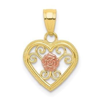 10k Two-tone Small Heart Charm