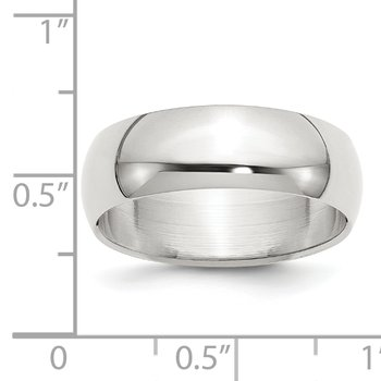 Sterling Silver 7mm Half-Round Band