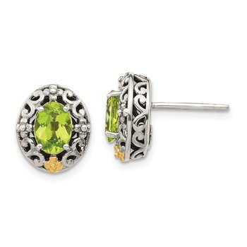 Sterling Silver w/ 14K Accent Peridot Post Earrings