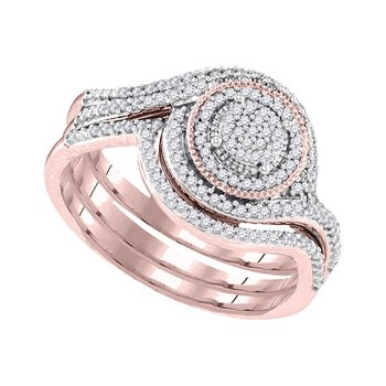 10kt Rose Gold Womens Round Diamond Circle Cluster Bridal Wedding Engagement Ring Band Set 1/3 Cttw