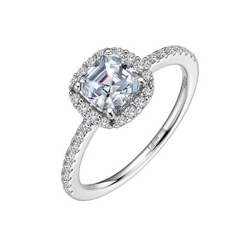 Asscher-Cut Halo Engagement Ring