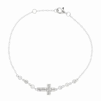 Silver CZ Station and Cross Chain